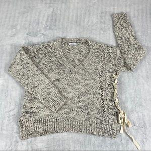 Dex V-Neck Sweater Sz Medium Side Lacing Grey Heather Chunky Loose Knit